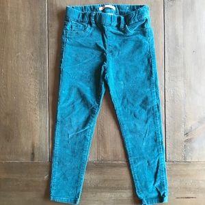 Zara girls corduroy pants turquoise corduroy 5T